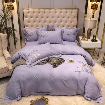2020新款长绒棉磨毛刺绣四件套(爱在金秋系列) 1.8m(6英尺)床单款四件套 爱在金秋-优雅紫
