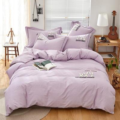 2020新款全棉色纺磨毛毛巾绣四件套 1.8m床单款四件套 幸运兔--优雅紫