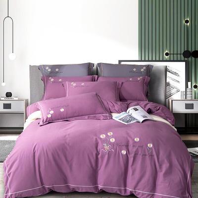 2020新款长绒棉刺绣四件套(小雏菊系列) 1.8m床单款四件套 小雏菊-紫藤色