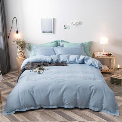 2021新款缎条刺绣四件套 1.8m床单款四件套 陌上花开-浅蓝