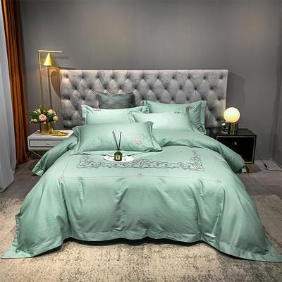 2021新款缎条刺绣四件套 1.8m床单款四件套 戴维丝-碧绿