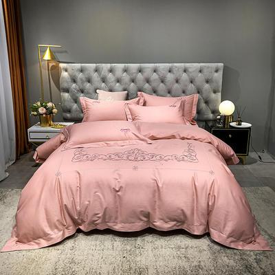 2021新款缎条刺绣四件套 1.8m床单款四件套 戴维丝-丁香粉