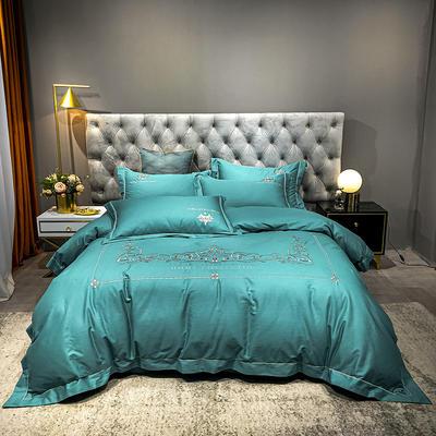 2021新款缎条刺绣四件套 1.8m床单款四件套 戴维丝-蔚蓝