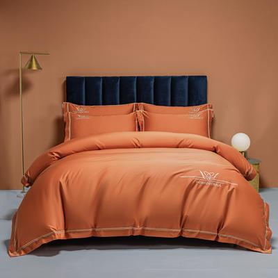 2021新款100s全棉长绒棉绣花四件套 1.8m床单款四件套 爱马仕橙