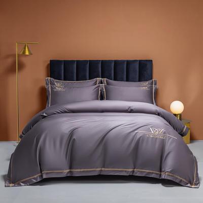 2021新款100s全棉长绒棉绣花四件套 1.8m床单款四件套 冷艳紫