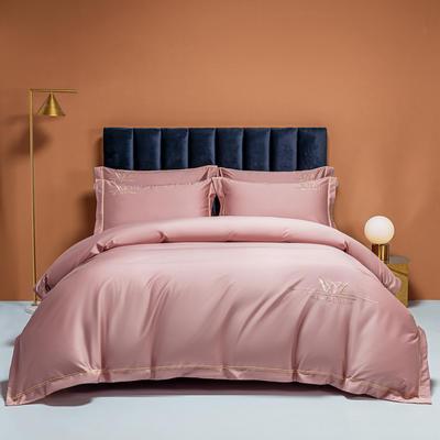 2021新款100s全棉长绒棉绣花四件套 1.8m床单款四件套 桃粉色