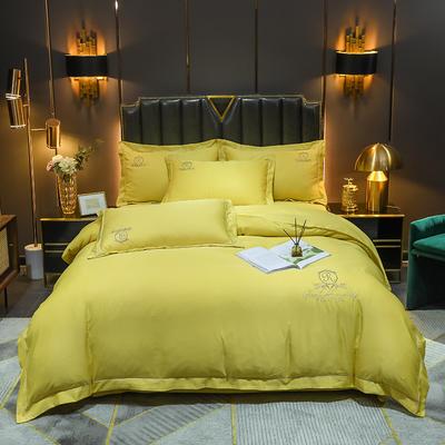 2021新款60支水洗真丝磨毛四件套—卡伦 1.8m床单款四件套 姜黄色