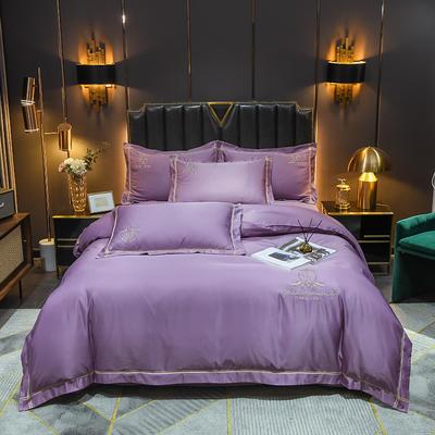 2021新款60支水洗真丝磨毛四件套—卡伦 1.8m床单款四件套 熏香紫