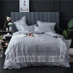 2018新款60S长绒棉系列四件套-继续梦幻 1.5m(5英尺)床 继续梦幻-灰
