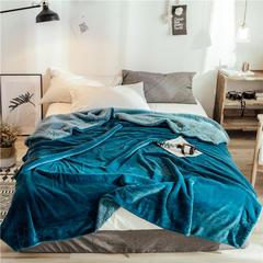 2018新款双层羊羔绒毛毯ins法兰绒毯子 1.5*2.0m 光影蓝