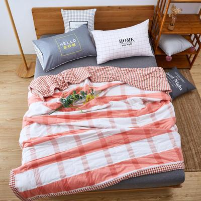 【专版花型,盗版必究】60长绒棉色织水洗夏被 1.2*1.5m 橘色(聚酯纤维)