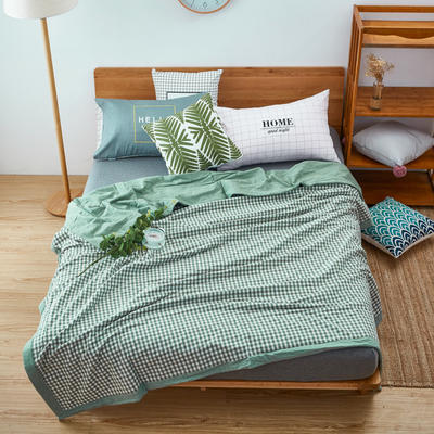 【专版花型,盗版必究】60长绒棉色织水洗夏被 1.2*1.5m 绿小格(聚酯纤维)