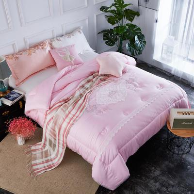 纯莫代尔绣花冬被  被子被芯-卡罗根 200X230cm  7.6斤 卡罗根 粉色