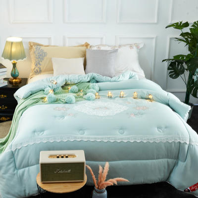 纯莫代尔绣花冬被  被子被芯-卡罗根 200X230cm  7.6斤 卡罗根 绿色