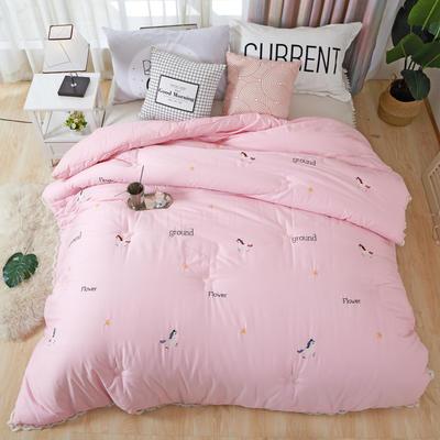 60长绒棉刺绣冬被  被子被芯--独角兽 200X230cm  7.2斤 60贡缎独角兽 粉色