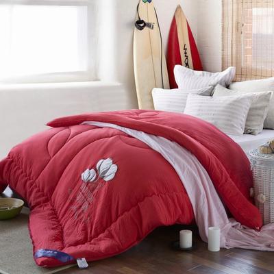 爆款首选—水洗棉毛巾绣冬被   情意绵绵 200X230cm6.6斤 情意绵绵正红