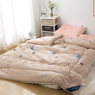 爆款首选—水洗棉毛巾绣冬被  一帆风顺 200X230cm6.6斤 一帆风顺、咖啡绸