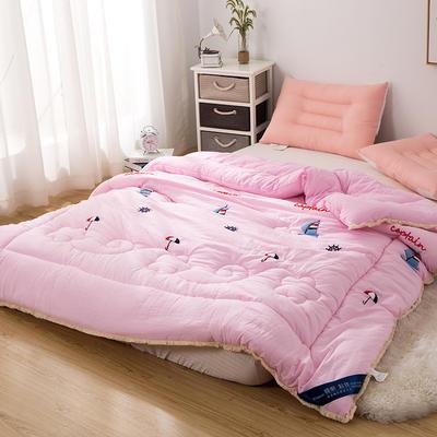爆款首选—水洗棉毛巾绣冬被  一帆风顺 200X230cm6.6斤 一帆风顺、绒嫩粉