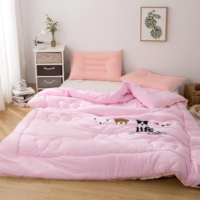 爆款首选—水洗棉毛巾绣冬被  一只狗的使命 200X230cm6.6斤 一只狗的使命、柔嫩粉