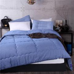 莫兰迪色四季被—60长绒棉色织水洗全棉子母被 (夏被)150x200cm2斤 色织水洗被-牛仔蓝