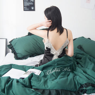 2019新款公主风蕾丝夏被 150x200cm 墨绿