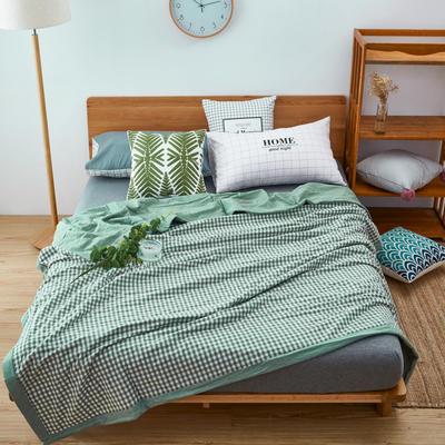 2019新款长绒棉色织夏被 1.5*2.0 绿小格(化纤)
