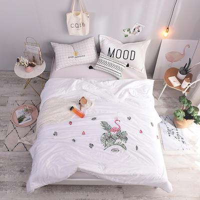 2019新款纯莫代尔法式刺绣夏被 200X230cm 热带火烈鸟 纯白