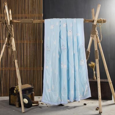 2019新款水洗棉印花夏被 120x150cm 北极熊—蓝
