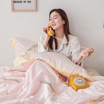 2019新款60s兰精天丝夏被 200X230cm 流星雨(嫩粉)