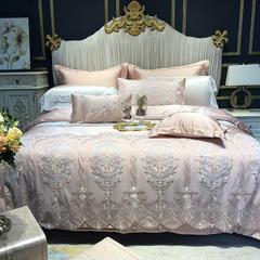真丝蕾丝系列多件套   七件套 标准 七件套【床单款】 粉玉