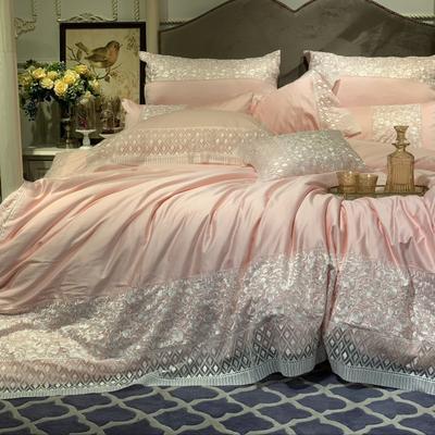 2019新款-高定系列四件套(轻语霓裳) 1.5m床-1.8m床 床盖七件套轻语霓裳粉