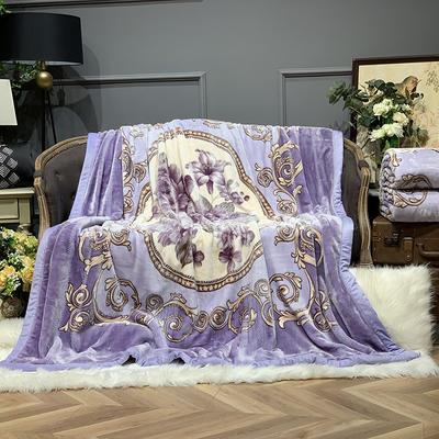 2019新款依云水绒毯 200cmx230cm 洛可可 紫