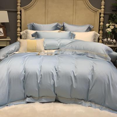 2019新款-高端居家轻奢系列四件套遇见 床单款1.5m(5英尺)床 天空蓝