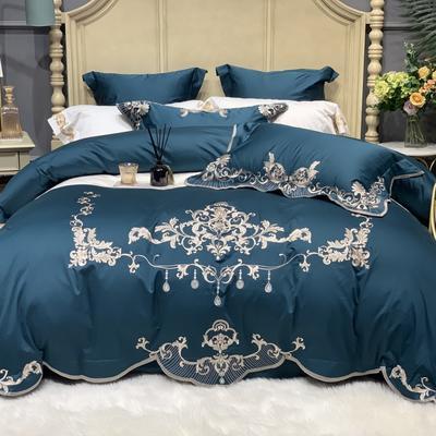 2020新款-More design高端居家轻奢全棉100支四件套 床单款四件套1.5m(5英尺)床 凯瑟 深海蓝