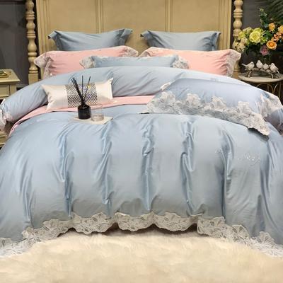 2020新款-More design高端居家轻奢全棉100支四件套 床单款四件套1.5m(5英尺)床 莎桦 雾霾蓝