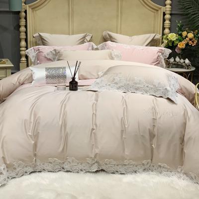 2020新款-More design高端居家轻奢全棉100支四件套 床单款四件套1.5m(5英尺)床 莎桦 燕麦色