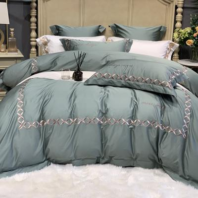 2020新款-More design高端居家轻奢全棉100支四件套 床单款四件套1.5m(5英尺)床 丽贝卡 绿