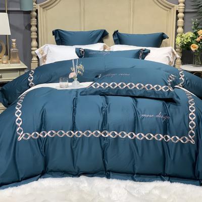 2020新款-More design高端居家轻奢全棉100支四件套 床单款四件套1.5m(5英尺)床 丽贝卡 深海蓝