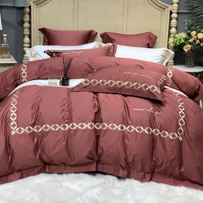 2020新款-More design高端居家轻奢全棉100支四件套 床单款四件套1.5m(5英尺)床 丽贝卡 印度红
