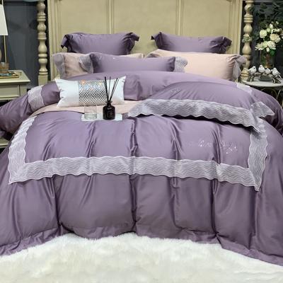 2020新款-More design高端居家轻奢全棉100支四件套 床单款四件套1.5m(5英尺)床 琉璃 梦幻紫