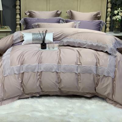 2020新款-More design高端居家轻奢全棉100支四件套 床单款四件套1.5m(5英尺)床 琉璃 浅豆沙