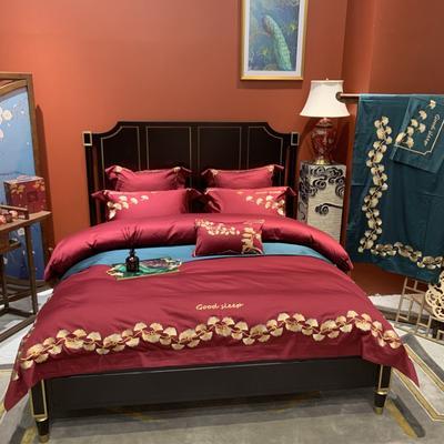 2020新款-More design高端居家轻奢全棉100支四件套 床单款四件套1.5m(5英尺)床 银杏 酒红