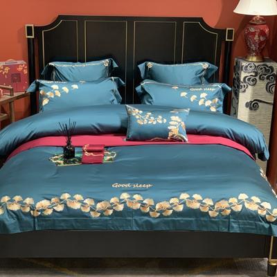 2020新款-More design高端居家轻奢全棉100支四件套 床单款四件套1.5m(5英尺)床 银杏 蓝绿色