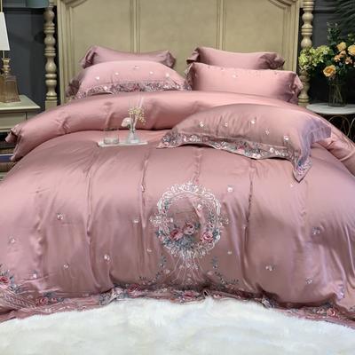 2020新款-天丝系列四件套 床单款四件套1.5m(5英尺)床 花语微澜 玫瑰粉