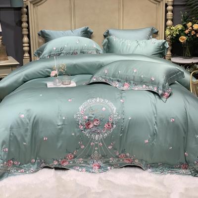 2020新款-天丝系列四件套 床单款四件套1.5m(5英尺)床 花语微澜 青石绿