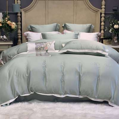 2020新款-春夏简奢系列60支天丝四件套60S天丝 床单款四件套1.5m(5英尺)床 豆绿