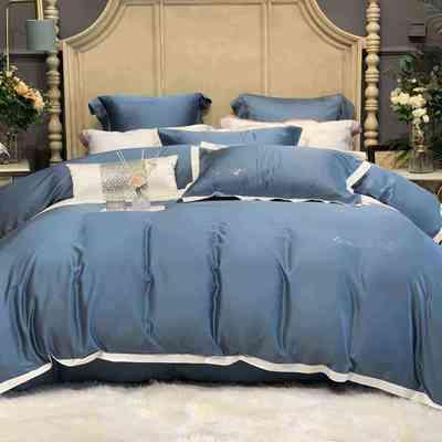 2020新款-春夏简奢系列60支天丝四件套60S天丝 床单款四件套1.5m(5英尺)床 海军蓝