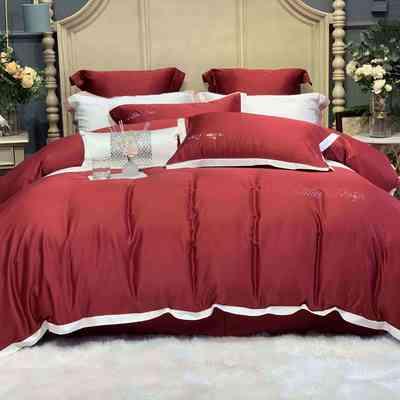 2020新款-春夏简奢系列60支天丝四件套60S天丝 床单款四件套1.5m(5英尺)床 酒红
