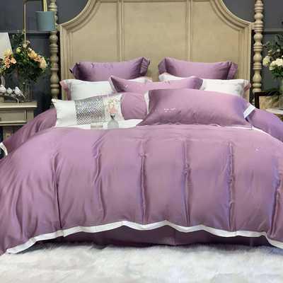 2020新款-春夏简奢系列60支天丝四件套60S天丝 床单款四件套1.5m(5英尺)床 葡萄紫