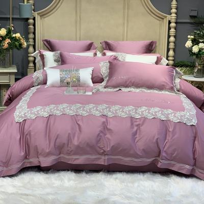 2020新款-高端居家轻奢系列100支艾莎四件套 床单款四件套1.5m(5英尺)床 艾莎 粉黛紫